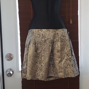 Metallic Side Zip Skirt with Pockets